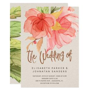 Coral pink green summer watercolor floral wedding invitation starting at 2.45