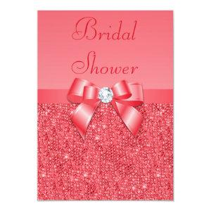 Coral Pink Printed Sequins & Diamond Bridal Shower Invitation starting at 2.66