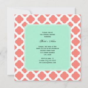 Coral Pink Quatrefoil and Mint Green Bridal Shower Invitation starting at 2.41