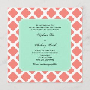 Coral Pink Quatrefoil and Mint Green Wedding starting at 2.41