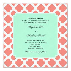 Coral Pink Quatrefoil and Mint Green Wedding Invitation starting at 2.41