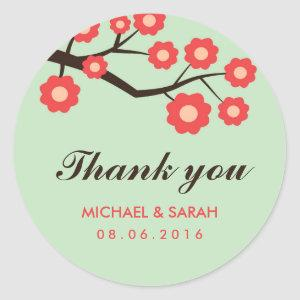 Coral Red Floral Wedding Favor Thank You Sticker starting at 6.30