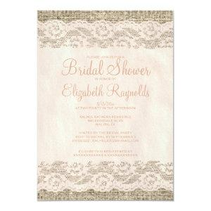 Coral Rustic Lace Bridal Shower Invitations starting at 2.66