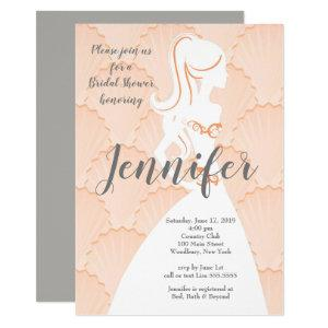 Coral shell background with dress Bridal Shower Invitation starting at 2.45