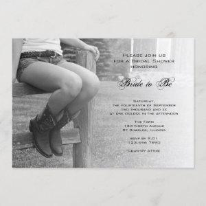 Country Cowgirl on Fence Bridal Shower Invitation starting at 2.60