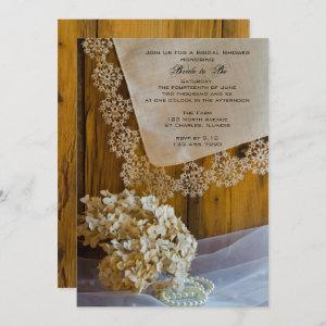 Country Lace and Flowers Barn Bridal Shower Invite starting at 2.60