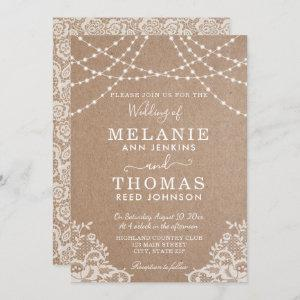 Country Lace and Kraft Wedding Invitation, Rustic Invitation starting at 2.51