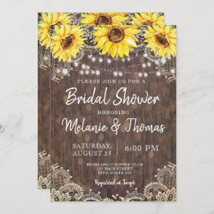 Country Lace Sunflowers Bridal Shower Invitations starting at 2.51