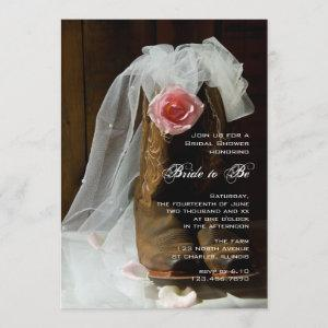 Country Rose Cowboy Boots Western Bridal Shower Invitation starting at 2.60
