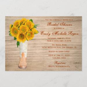 Country Rustic Boots and Sunflowers Bridal Shower Invitation starting at 2.51