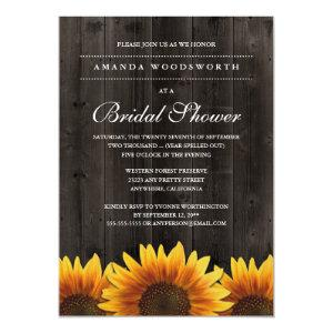 Country Rustic Sunflower Bridal Shower Invitations starting at 2.25