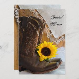 Country Sunflower and Lace Western Bridal Shower Invitation starting at 2.60