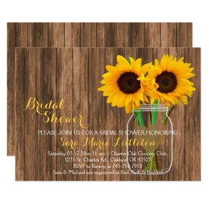 Country Sunflower Mason Jar Bridal Shower Invites starting at 1.95