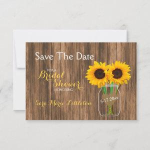 Country Sunflower Mason Jar Save the Date starting at 2.26