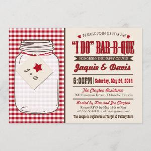 "Couples Shower BBQ Invitation in Mason Jar ""I DO"" starting at 2.82"