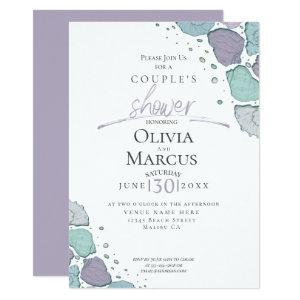 Couple's Shower | Beach Seashells Lilac Dusty Blue Invitation starting at 2.66