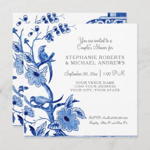 Couples Shower Blue Asian China Floral Watercolor Invitation starting at 2.51