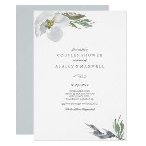 Couples Shower Cool Grey Watercolor Florals Invitation starting at 2.35