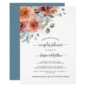Couples Shower, Dusty Blue,Peach Ethereal Floral Invitation starting at 2.15