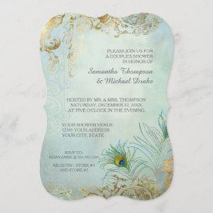Couples Shower Gold Leaf Peacock Feathers Elegant Invitation starting at 3.28