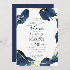 Couple's Shower | Modern Deep Indigo Blue and Gold Invitation starting at 2.51