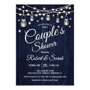 Couple's Shower - Navy Rustic Wood Invitation starting at 2.35