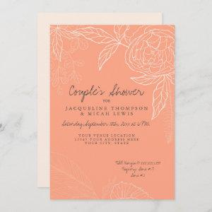 Couples Shower Pencil Coral Pink Floral Peony Leaf Invitation starting at 2.66