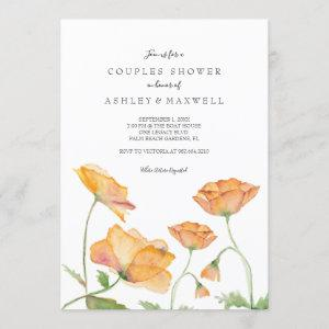 Couples Shower Poppies Watercolor Florals Invitation starting at 2.35