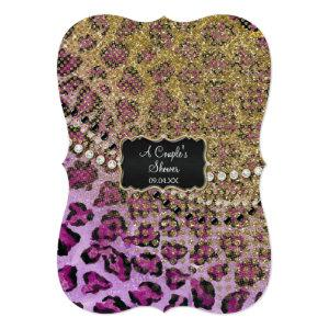 Couples Shower Purple Gold Leopard Animal Print Invitation starting at 3.23