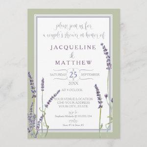 Couples Shower Watercolor Lavender Flowers Script Invitation starting at 2.66
