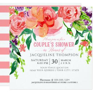 Couples Shower Watercolor Modern Bright Floral Art Invitation starting at 2.51
