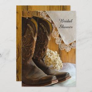 Cowboy Boots Lace Country Western Bridal Shower Invitation starting at 2.60