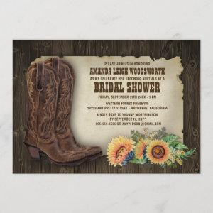 Cowboy Boots Sunflower Bridal Shower Invitations starting at 2.25
