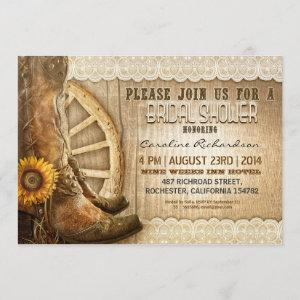cowboy shoes sunflowers wood bridal shower invites starting at 2.66