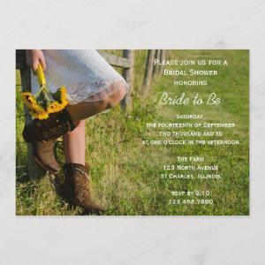 Cowgirl Sunflowers Country Western Bridal Shower Invitation starting at 2.60