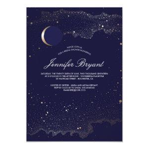 Crescent Moon and Night Stars Navy Bridal Shower Invitation starting at 2.65