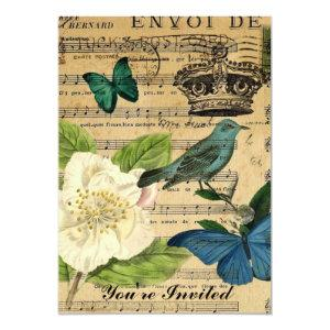 crown bird Music Notes Rose shabby elegance Invitation starting at 2.77