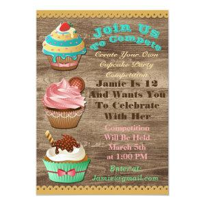 Cupcake Wars Bake Off Birthday Brown Wooden Invite starting at 2.56