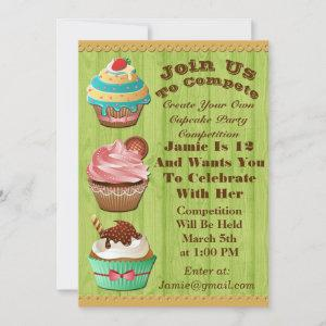 Cupcake Wars Bake Off Birthday Lime Wooden Invite starting at 2.56