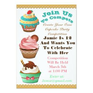 Cupcake Wars Bake Off Birthday Multi Color Invite starting at 2.56