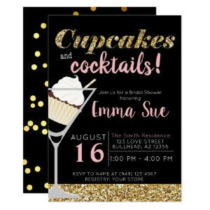 Cupcakes & Cocktails Black & Gold Bridal shower Invitation starting at 2.45