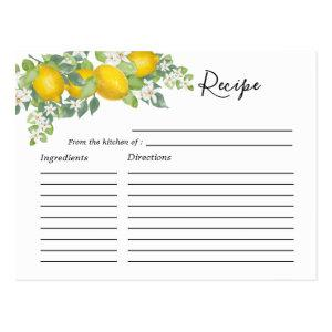Cute Citrus Lemon Themed Bridal Shower Recipe Card starting at 1.25