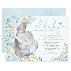 Cute Elephant Soft Blue Floral Boy Baby Shower Invitation starting at 2.66
