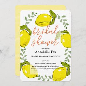 Cute Lemon Citrus White Bridal Shower Invitation starting at 2.76