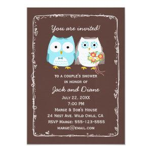 Cute Owls Wedding Shower for Bride and Groom Invitation starting at 3.30