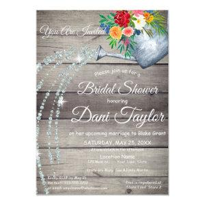 Cute Rustic Watering Can Floral Bridal Shower Invitation starting at 2.50
