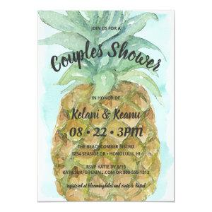 Cute Tropical Watercolor Pineapple Couples Shower Invitation starting at 2.66