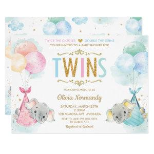 Cute Twins Boy Girl Elephant Baby Shower Sprinkle Invitation starting at 2.40