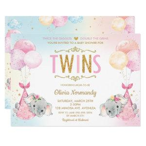 Cute Twins Girls Elephant Baby Shower Sprinkle Invitation starting at 2.40