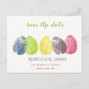 CUTE WATERCOLOUR EASTER EGGS Save the date Announcement Postcard starting at 2.02